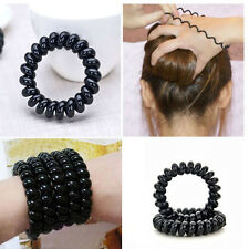 3x Black  Elastic Girl Rubber Telephone Wire Style Hair Ties&Plastic Rope (5cm)