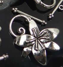 5 Sets Silver Pewter Flower Toggle 30x24mm ~ Lead-Free