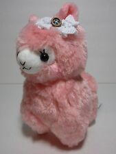 """Girly"" Alpacasso Pink Alpaca White Lacey Hair Ribbon 16cm Plush Amuse Arpakasso"