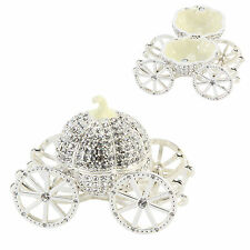 Silver plated Bling cinderella carriage  design  trinket box FREE ENGRAVING