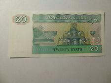 Myanmar Paper Money Currency - 20 Kyats - Crisp Uncirculated