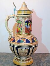 "Old 3L German Beer Stein by Gerz, Mold #850 16"" Tall"