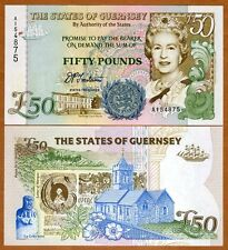 Guernsey 50 Pounds, ND (1994), P-59, QEII, Gem UNC   Highest Denom