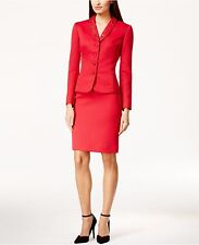 NEW TAHARI 2PC SKIRT SUIT 12 RED UNIQUE CREPE TEXTURE BEADED SHAWL COLLAR CHIC