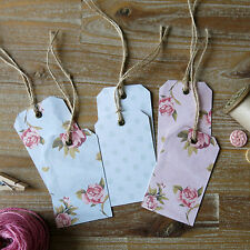 6 x Shabby chic rustic vintage rose floral polka dot luggage-style gift tags
