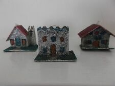 3 SMALL VINTAGE CHRISTMAS VILLAGE PUTZ HOUSE ORNAMENTS*GLITTERED*Made in Japan