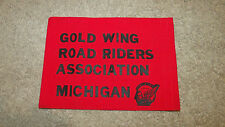 "Gold Wing Road Riders Ass. Michigan Flag-Red/Black-Motorcycle Club-9"" x 7""-New!"