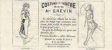 Gravure ancienne 1880  costumes de théatre  A. Grévin XIXème
