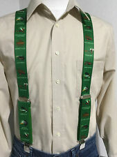 "New, Men's, Fishing Flies on Green, XL, 1.5"", Adj. Suspenders / Braces, USA"