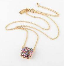 KATE SPADE 12K Gold Plated Multi-Glitter Square Pendant Necklace NEW