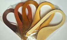 500 quilling paper strips in shades of brown - 3mm  wide