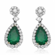8.36 CARAT NATURAL EMERALDS & 3.43 CARAT DIAMONDS 18K EARRINGS