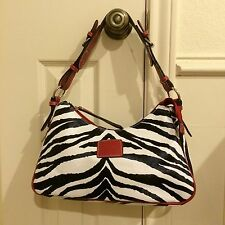 Black & White Zebra Print Faux Leather Handbag w/ Red Trim