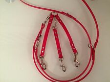 Red High Gloss Biothane For Small- Medium Dogs Adjustable & Triple Lead Splitter