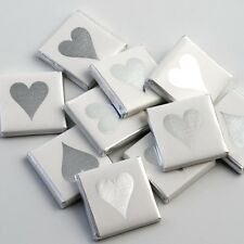 100 Silver Heart Chocolate Neopolitans Wedding Favours