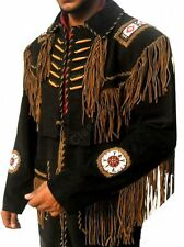 Classyak Western Leather Jacket Fringed & Beads work, Qaulity Suede Leather