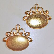 2 Vintage Gold Plated Brass Fob Pendants Charms Findings high qual antique