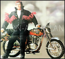 Knitting Pattern Copy DOLLS CLOTHES ACTION MAN MOTORBIKE OUTFIT BIKER GEAR 4 PLY
