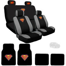 New Superman Car Seat Cover Floor Mats with POW Logo Headrest Cover For Jeep