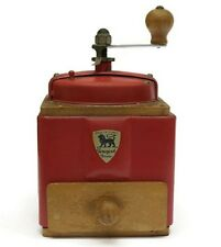 Charming Rare Vintage French Peugeot Freres Coffee Bean Grinder ~ Red with Label