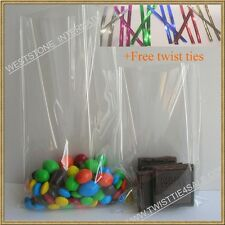 "1000pcs 4"" x 6"" 1.5mil crystal clear candy cookie cello bag + twist ties"