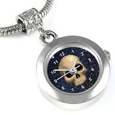 Skull Silver Dangle Quartz Watch European Spacer Charm Bead For Bracelet EBA113