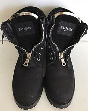 Balmain Tia Tundra Black Suede Silver Perforated Ankle Boots Size 36