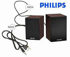 Philips 2.0 laptop, speakers in wood USB powered 3.55 mm jack FREE SHIPPING