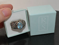 Ross-Simons blue topaz STERLING SILVER RING sz 6 Oxidized leaves BOLD