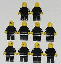 LEGO LOT OF 10 PLAIN BLACK MINIFIGURES WITH STANDARD GRIN FIGURES PEOPLE