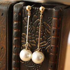 Boucles d`Oreilles Doré Clous Fin Long Pendant Perle Vintage Leger Mariage CC 7