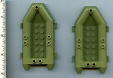 LEGO x 2 Olive Green Boat, Rubber Raft, Small NEW Police Chima