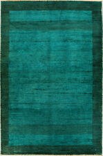 Turquoise Modern style Persian Handmade Fine Gabbeh Rug 4'.5''x 3'.11'' foot
