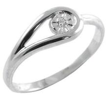 Rhodium-plated over 925 Sterling Silver Genuine Diamond Promise Ring, size 7