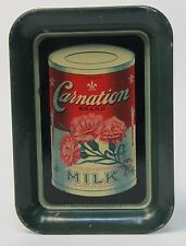 scarce circa 1910 CARNATION EVAPORATED MILK rectangular tin litho tip tray