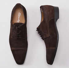 NIB $695 SANTONI Chocolate Brown Suede Cap Toe Derby US 7.5 D Dress Shoes