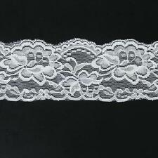 "5 Yards Scalloped WHITE Floral Galloon STRETCH Lingerie Headband Lace 2.7"" Wide"