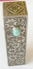 STERLING SILVER ENGRAVED TURQUOISE LIPSTICK HOLDER