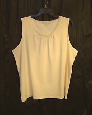 CATHERINES SUPREMA OFF-WHITE STRETCH KNIT TOP SHIRT SHELL TANK~18/20W~1X~2X~NEW