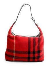 Burberry London Red Check Wool & Leather Shoulder Bag