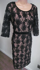 PER UNA M&S Marks & Spencer Nude & Black Lace Dress - BNWT Size 10 (RRP £75)