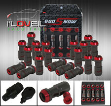 M12 X 1.5MM 20PC CNC WHEEL RIMS LUG NUTS FORMULA STYLE GUNMETAL RED + KEY TOYOTA