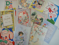 11-Vintage Greeting Cards-Birthday-Children-Father's Day-Easter-Lot