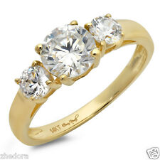 1.50 CT Three Stone Halo Round Engagement Ring 14k SOLID Yellow Gold Bridal Band