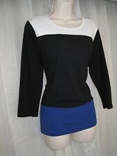 RALPH LAUREN Womens Plus Size XL 1X 14 16 Blue White Black Color Block Knit Top!