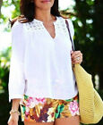NEW J CREW Embroidered gauze top shirt blouse cotton white 4/6/8/XS/S/M $88