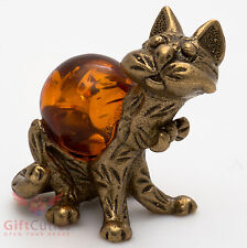 Solid Brass Amber Figurine of Cat w bowknot Totem talisman IronWork