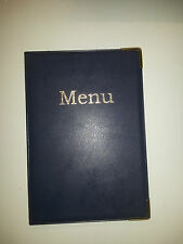 A5 MENU COVER/FOLDER IN BLUE LEATHER LOOK PVC with guilt corners on front