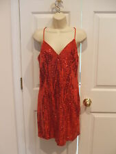 NWT $299 frederick's of hollywood RED solid  sequin Prom party Dance dress  7/8