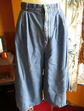 sz 10 25W HI Waist True Vtg 80s WIDE LEG CHERYL TIEGS DENIM RELIC PREPPY SHORTS